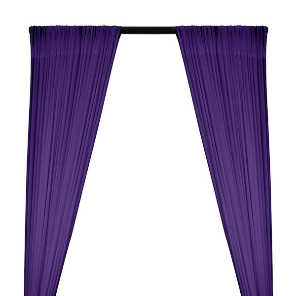 Power Mesh Rod Pocket Curtains - Purple