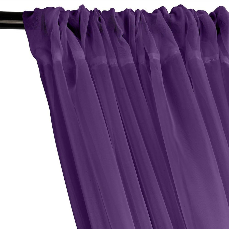 Sheer Voile Rod Pocket Curtains - Purple