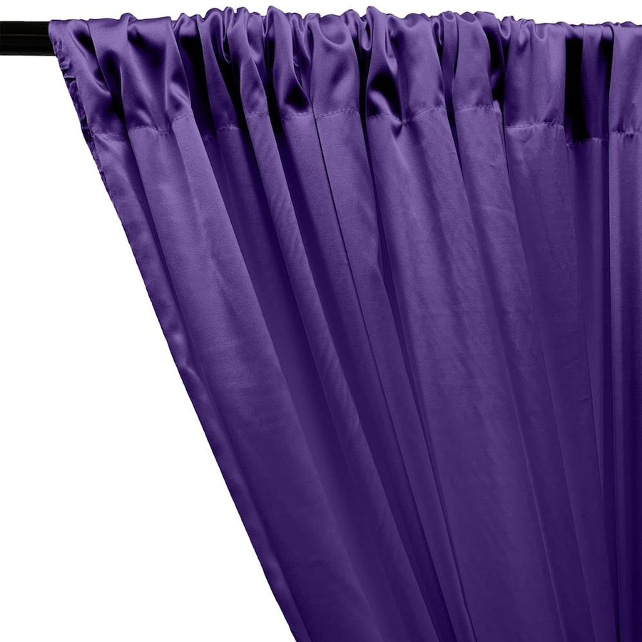 Stretch Charmeuse Satin Rod Pocket Curtains - Purple