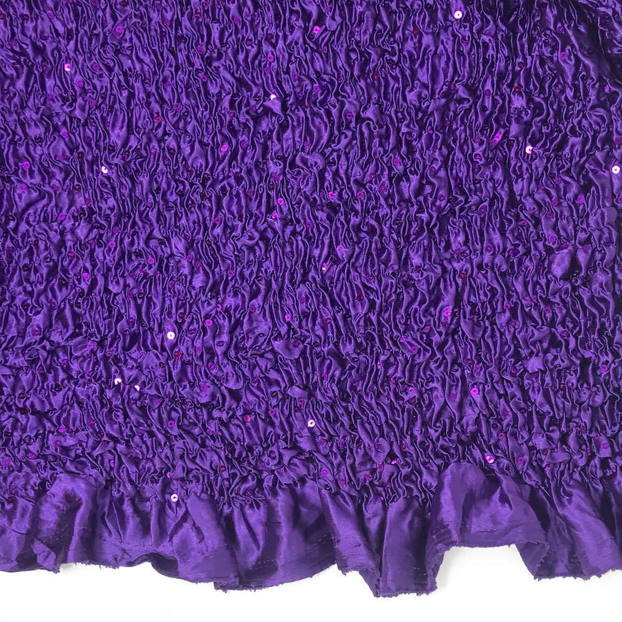 Purple Stretch Ruffle Satin