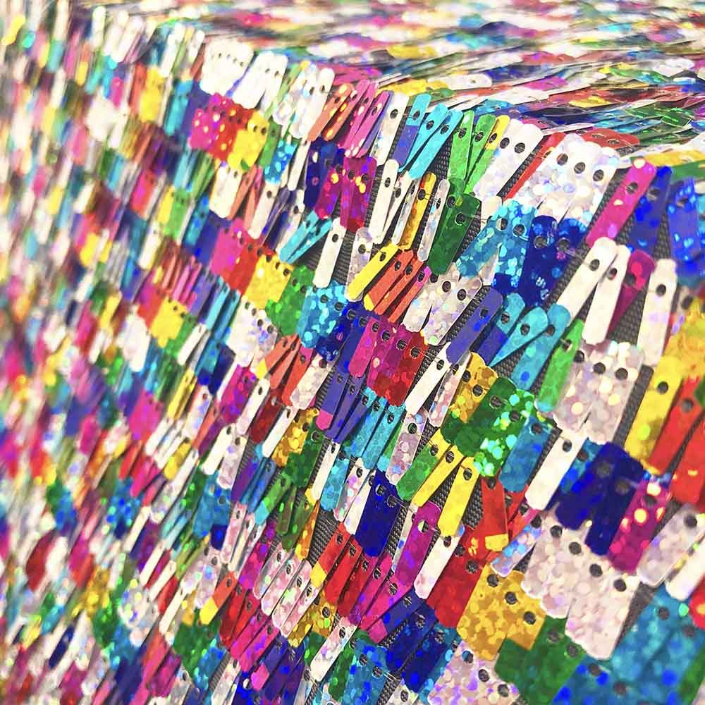 1a7d3b3ef RAINBOW RECTANGLE PIANO SEQUINS ON STRETCH MESH  22.50 Yard Sold BTY ...