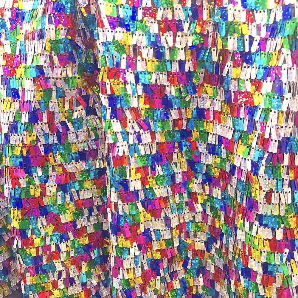 d5a7bac55 RAINBOW RECTANGLE PIANO SEQUINS ON STRETCH MESH  22.50 Yard Sold BTY - Fabric  Wholesale Direct