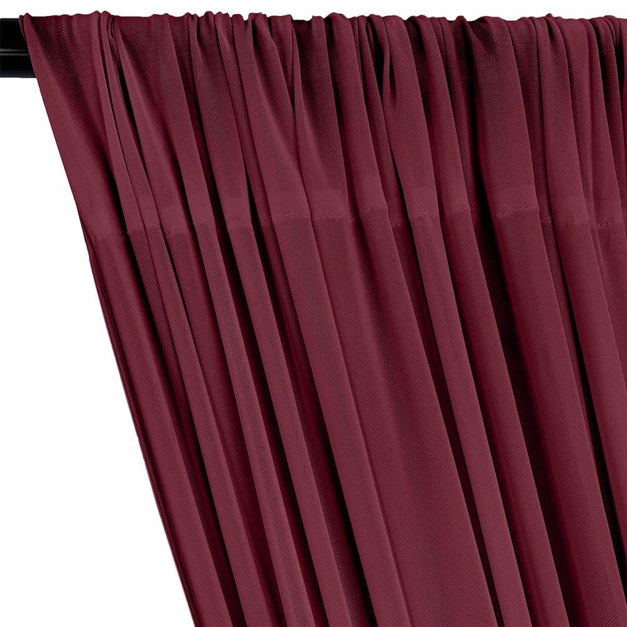 Power Mesh Rod Pocket Curtains - Raspberry