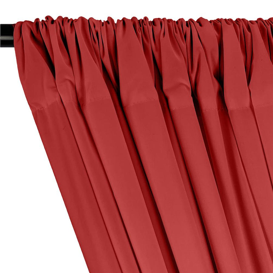 100% Cotton Broadcloth Rod Pocket Curtains - Red
