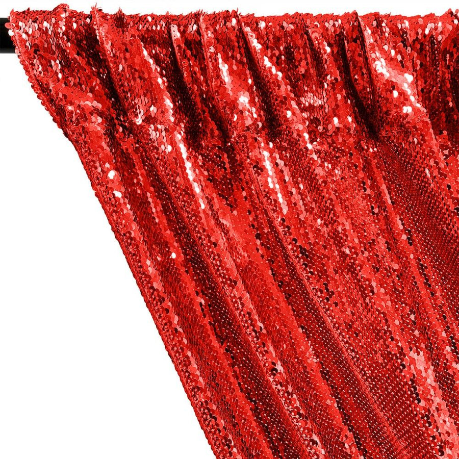 All-Over Sequins Mermaid Scale on Stretch Mesh Rod Pocket Curtains - Red