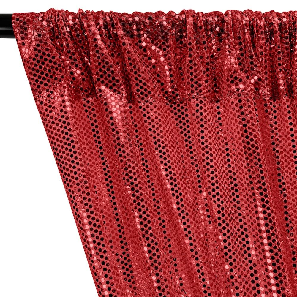 American Trans Knit Sequins Rod Pocket Curtains - Red