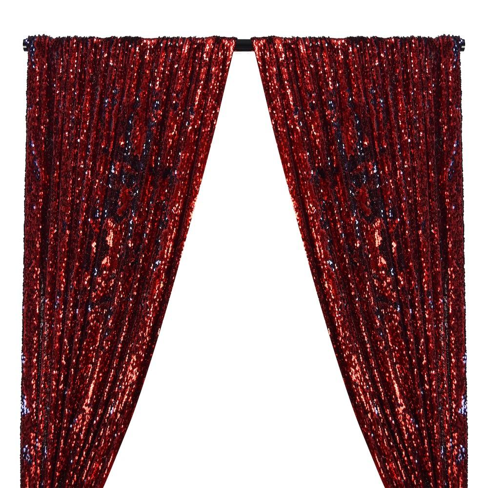Two-Sided Reversible Sequins Rod Pocket Curtains - Red / Navy