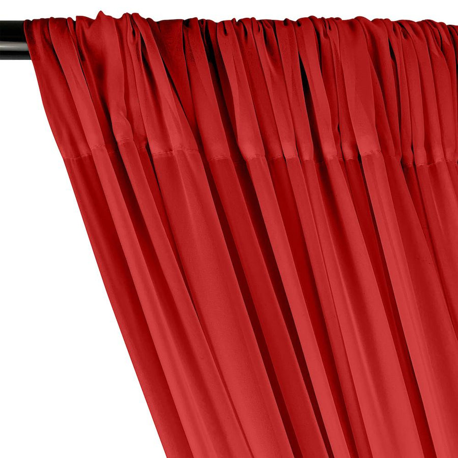 Polyester Chiffon Rod Pocket Curtains - Red