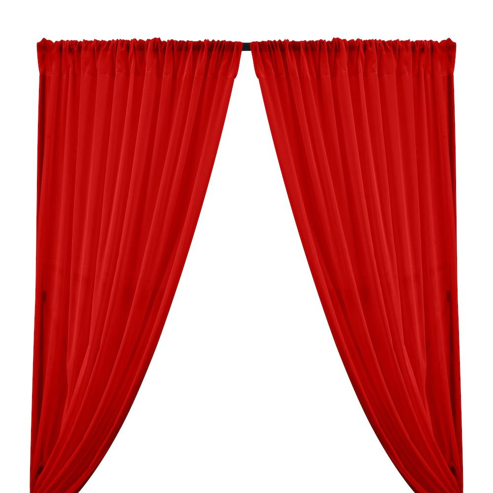 Cotton Voile Rod Pocket Curtains - Red