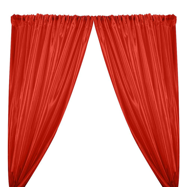 Extra Wide Nylon Taffeta Rod Pocket Curtains - Red