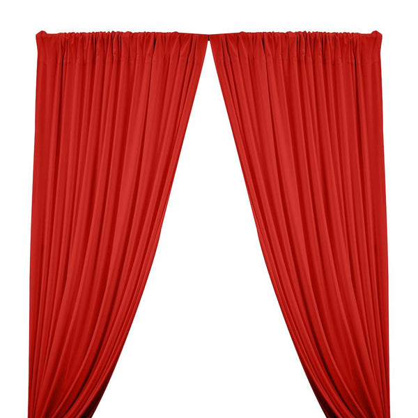 Matte Milliskin Rod Pocket Curtains - Red
