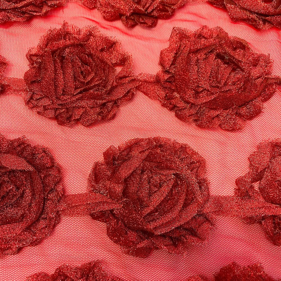 Red Metallic Rosette on Mesh