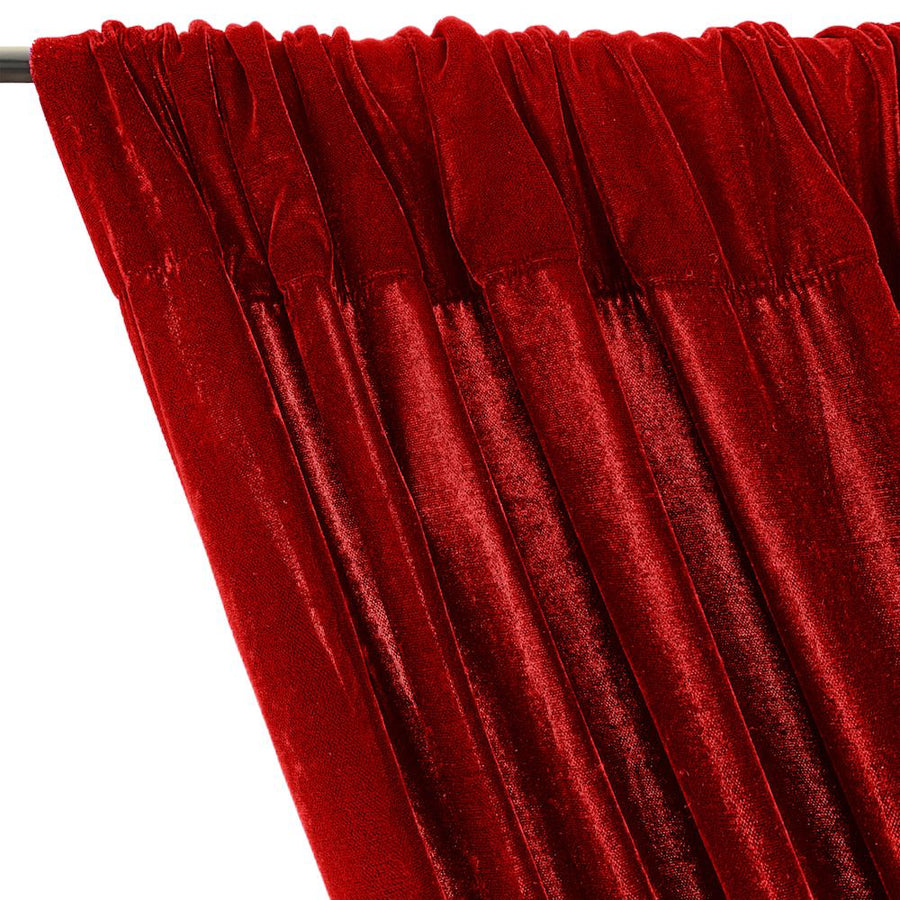 Micro Velvet Rod Pocket Curtains - Red
