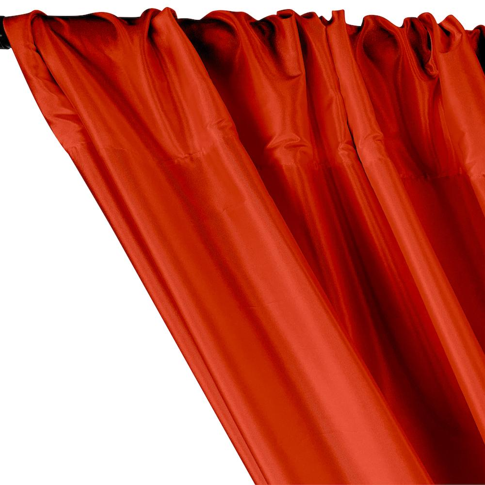 Polyester Taffeta Lining Rod Pocket Curtains - Red