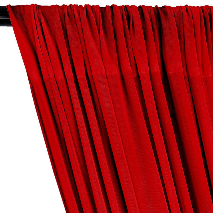 Power Mesh Rod Pocket Curtains - Red