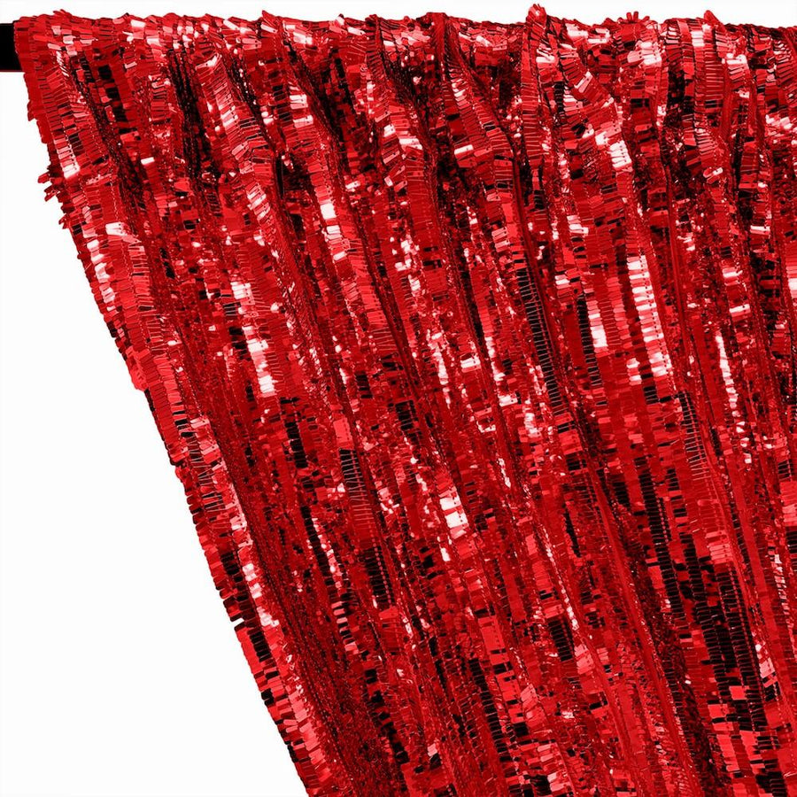 Rectangle Piano Sequins Rod Pocket Curtains - Red