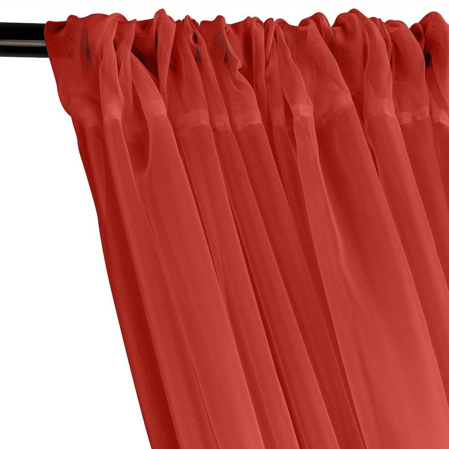 Sheer Voile Fire Retardant Rod Pocket Curtains - Red