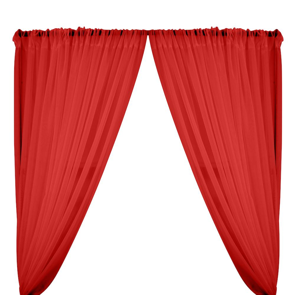 Sheer Voile Rod Pocket Curtains - Red