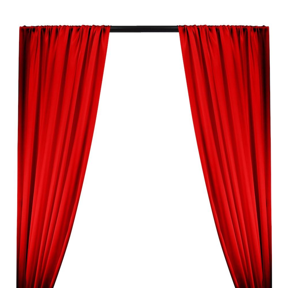 Silk Charmeuse Rod Pocket Curtains - Red