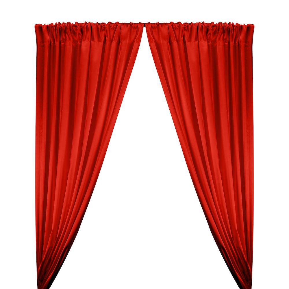 Stretch Charmeuse Satin Rod Pocket Curtains - Red