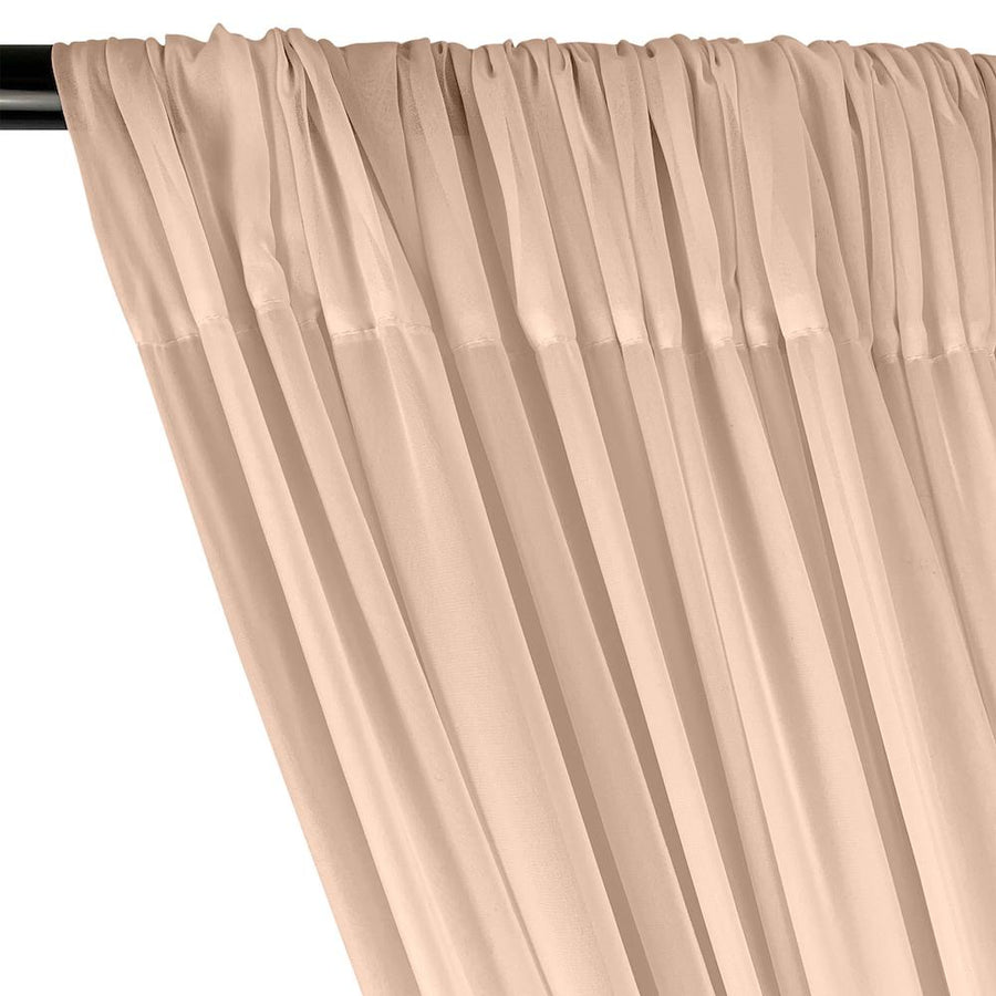 Polyester Chiffon Rod Pocket Curtains - Rose Gold