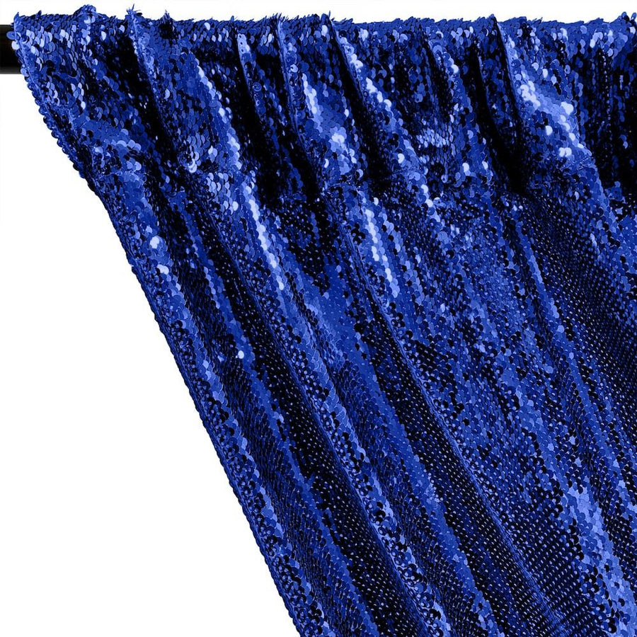 All-Over Sequins Mermaid Scale on Stretch Mesh Rod Pocket Curtains - Royal Blue