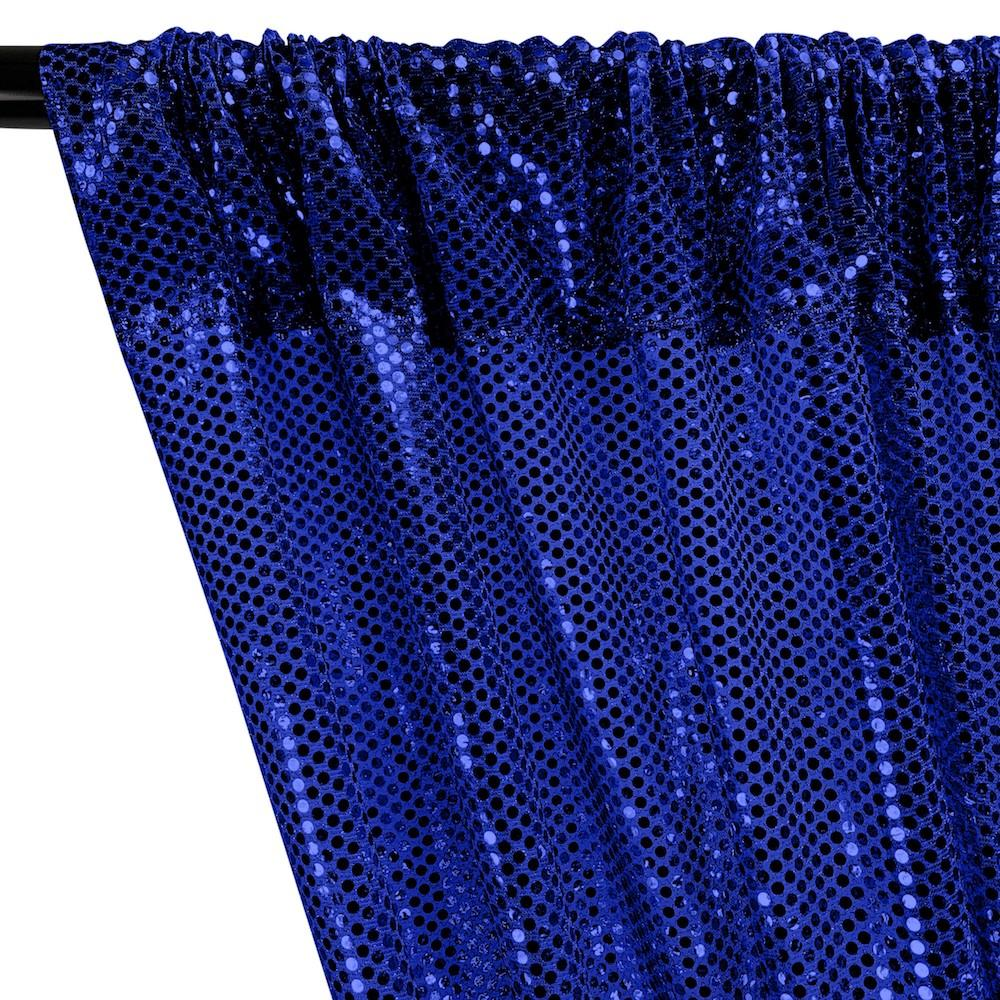 American Trans Knit Sequins Rod Pocket Curtains - Royal Blue