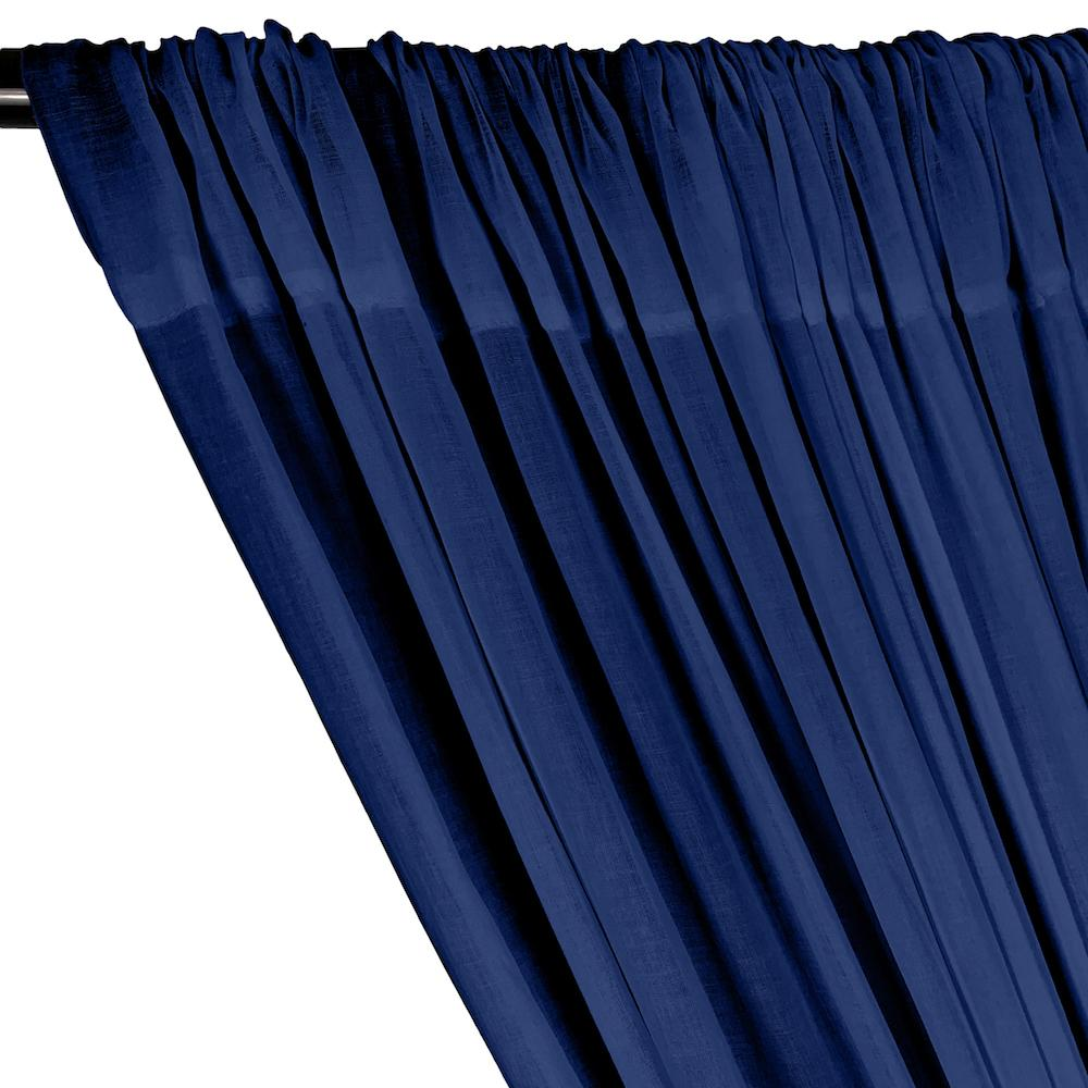 Cotton Voile Rod Pocket Curtains - Royal Blue