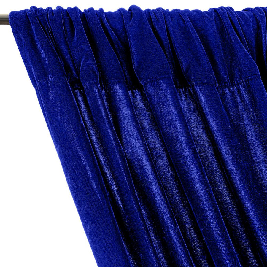 Micro Velvet Rod Pocket Curtains - Royal Blue