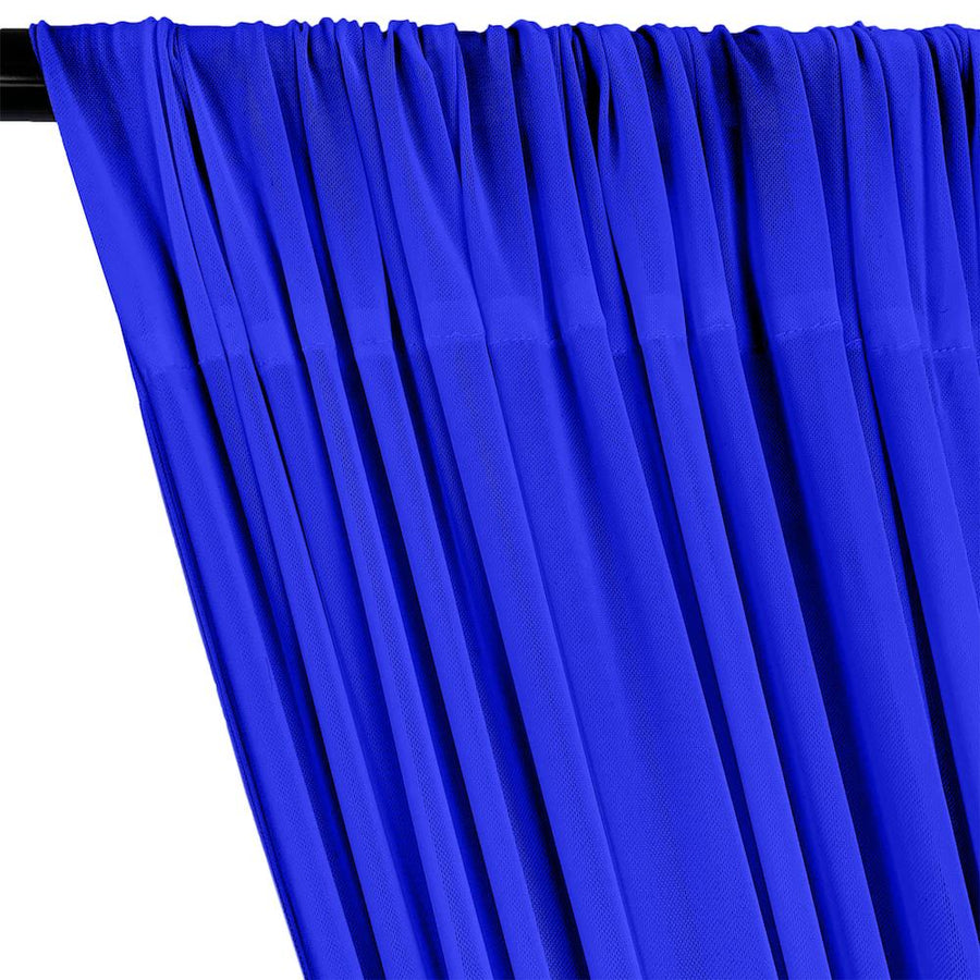Power Mesh Rod Pocket Curtains - Royal Blue