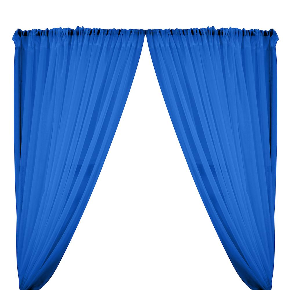 Sheer Voile Rod Pocket Curtains - Royal Blue
