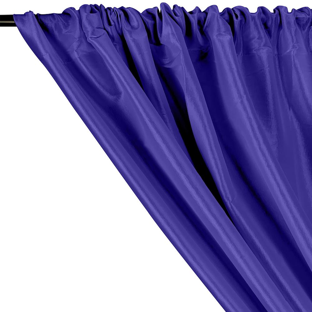 Stretch Taffeta Rod Pocket Curtains - Royal Blue