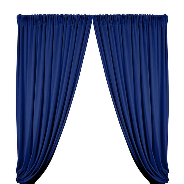 Stretch Velvet Rod Pocket Curtains - Royal Blue