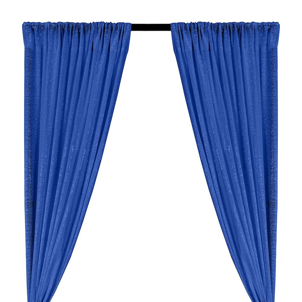 Zigzag Micro Sequins Starlight Rod Pocket Curtains - Royal Blue