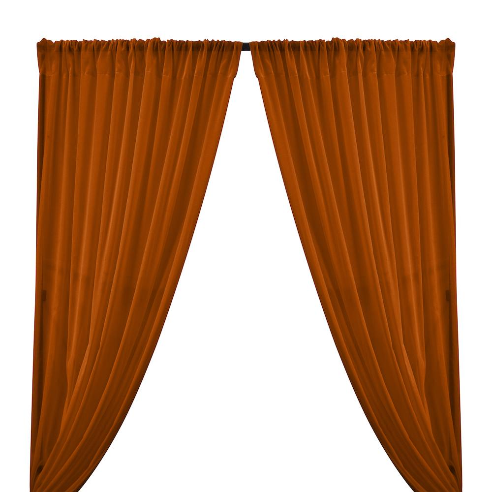 Cotton Voile Rod Pocket Curtains - Rust