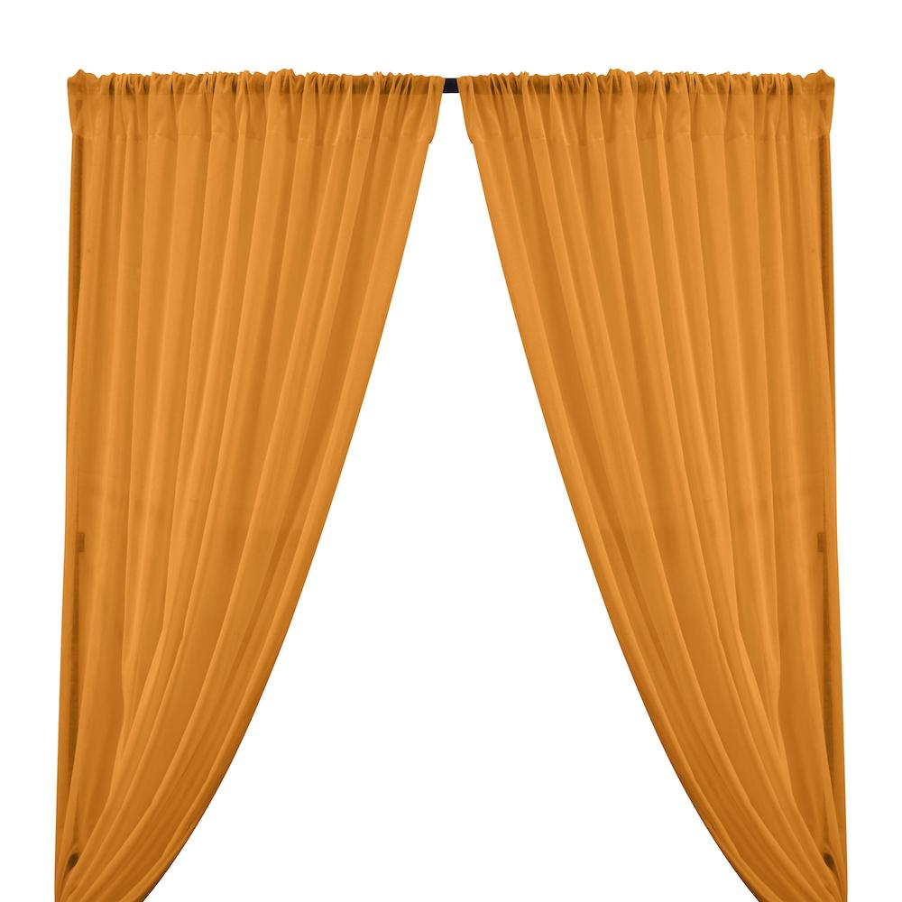 Cotton Voile Rod Pocket Curtains - Saffron