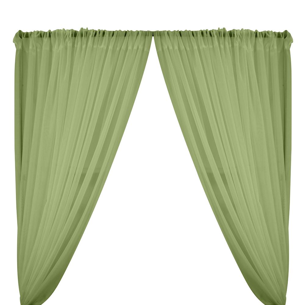 Sheer Voile Rod Pocket Curtains - Sage Green