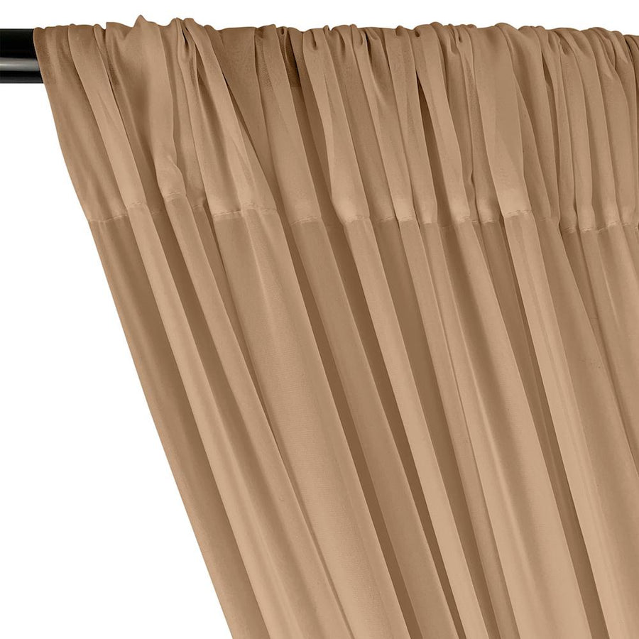 Polyester Chiffon Rod Pocket Curtains - Sand