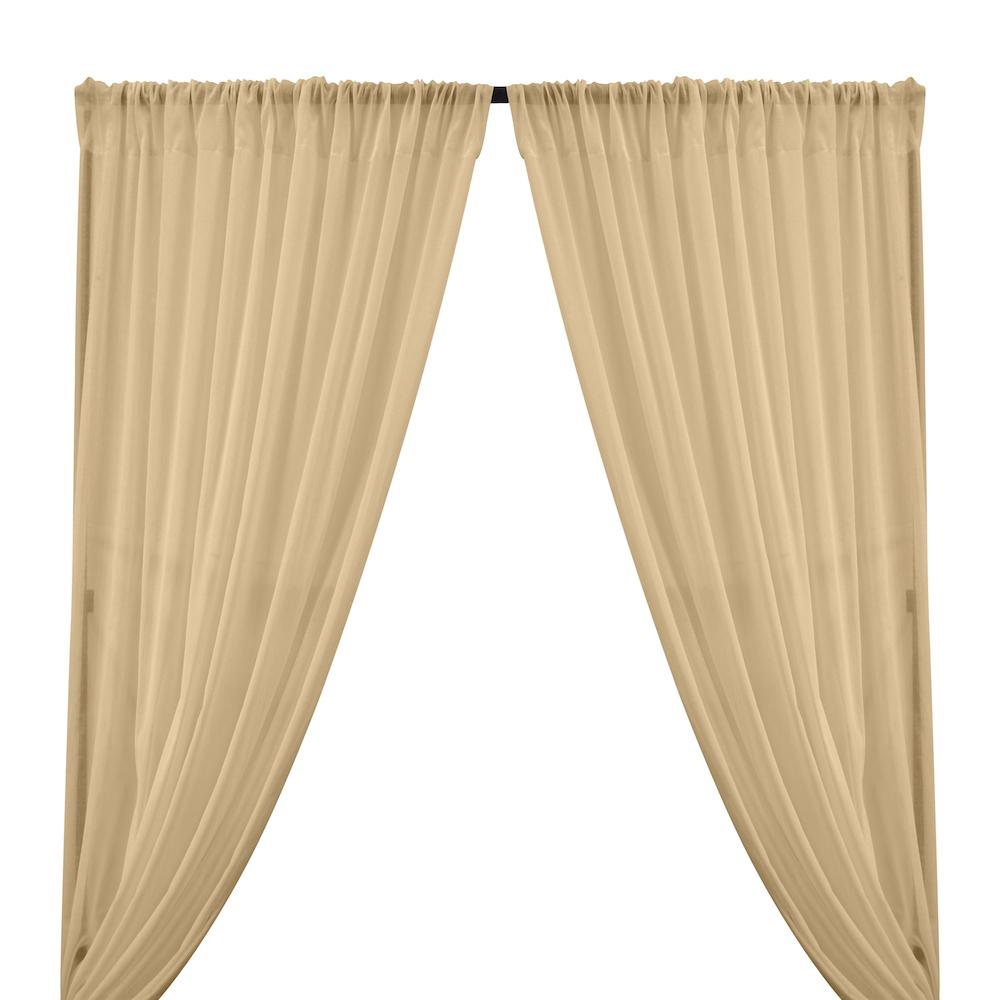 Cotton Voile Rod Pocket Curtains - Sand