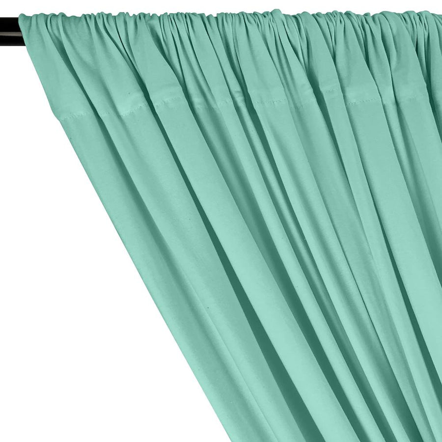 Cotton Jersey Rod Pocket Curtains - Seafoam