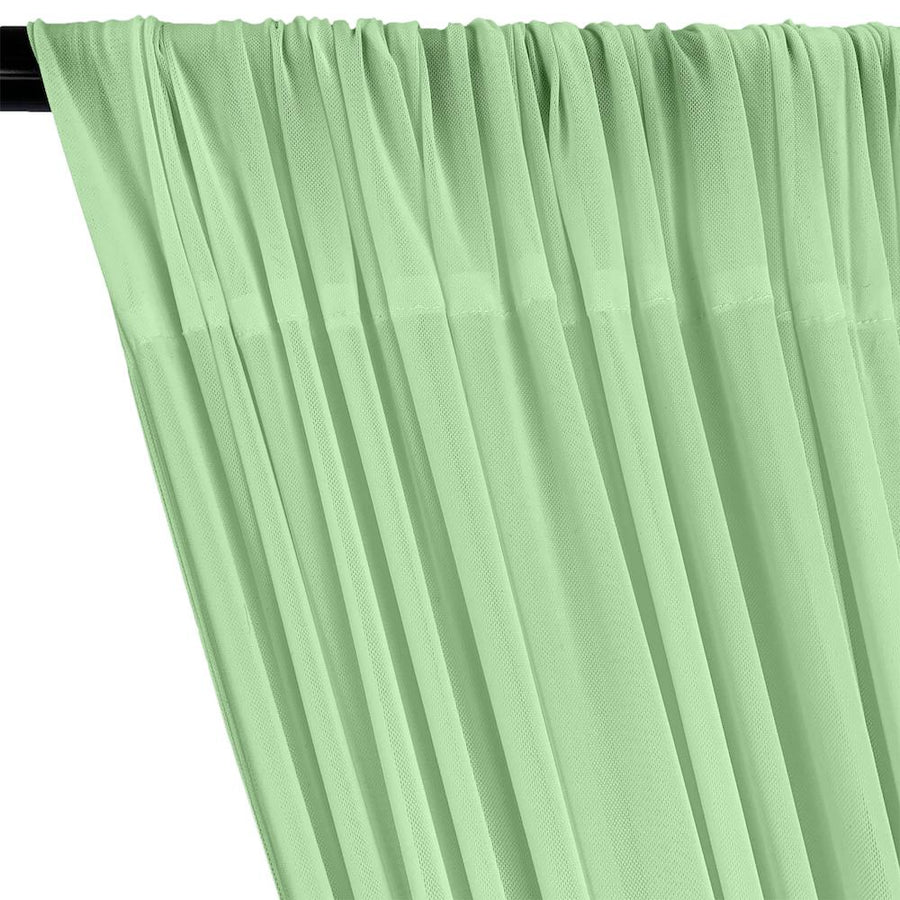 Power Mesh Rod Pocket Curtains - Seafoam