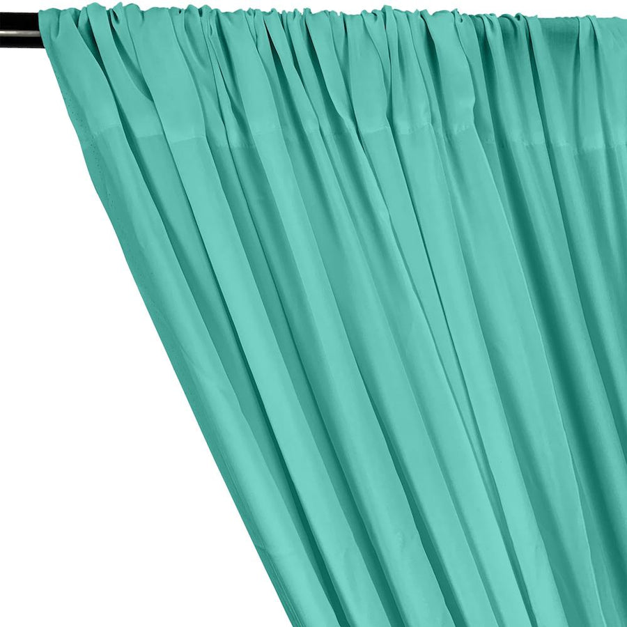 Rayon Challis Rod Pocket Curtains - Seafoam