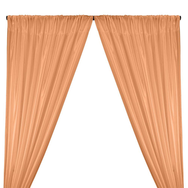 Poly China Silk Lining Rod Pocket Curtains - Shrimp