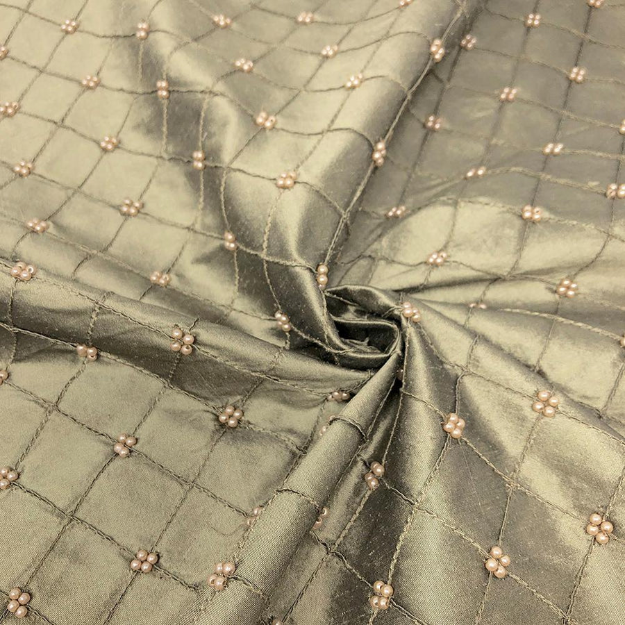 Silk Taffeta Olive Beaded Checkered Embroidery