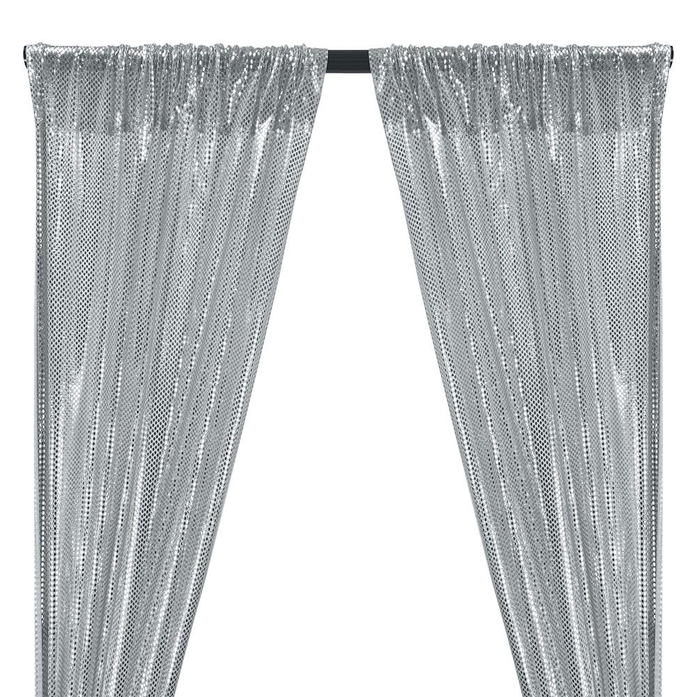 American Trans Knit Sequins Rod Pocket Curtains (All Colors Available) - Silver