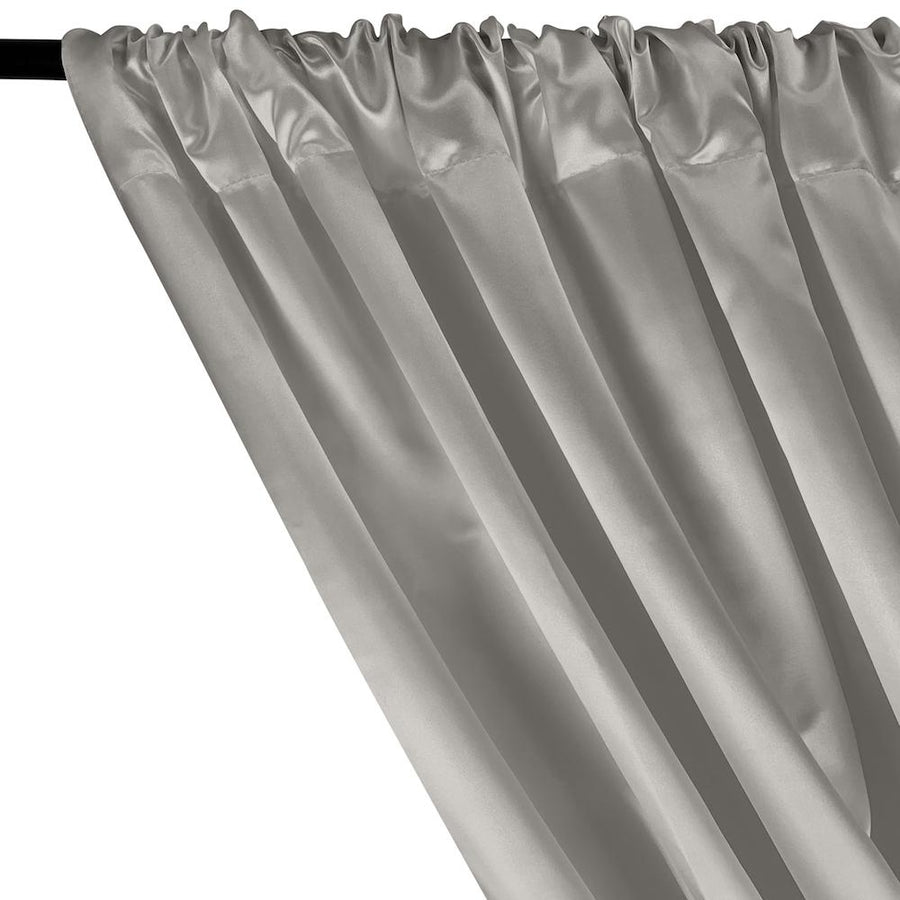 Bridal Satin Rod Pocket Curtains - Silver