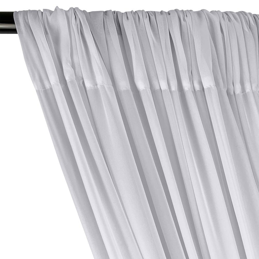 Polyester Chiffon Rod Pocket Curtains - Silver