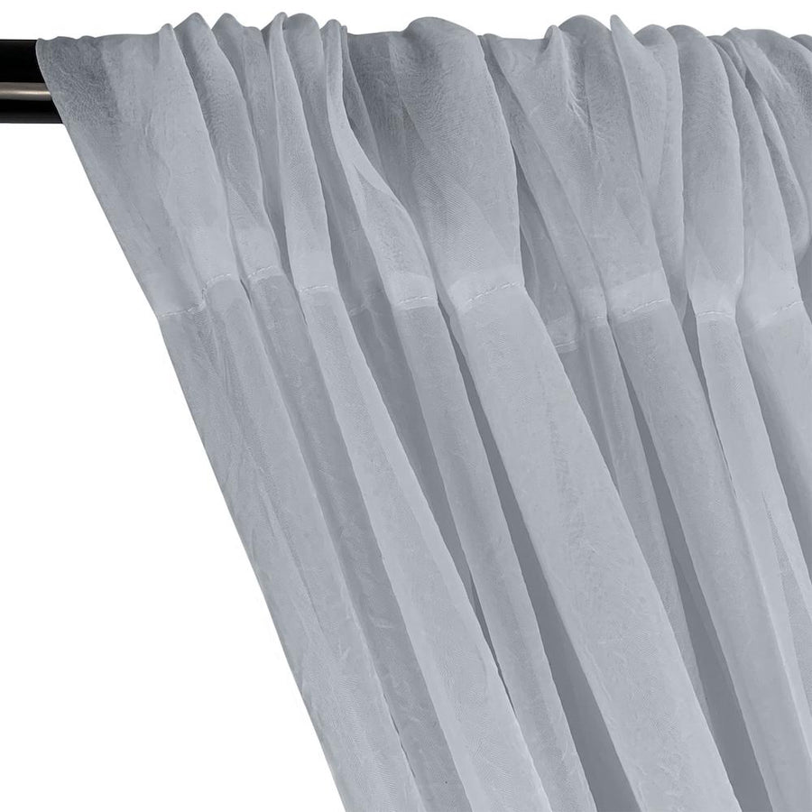 Crushed Sheer Voile Rod Pocket Curtains - Silver