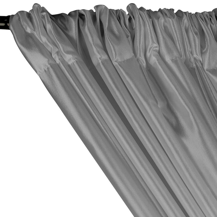 Extra Wide Nylon Taffeta Rod Pocket Curtains - Silver