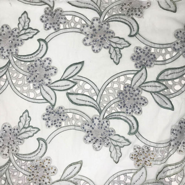 Silver Floral Leaf Embroidery w/ Sequins & Beads on Mesh
